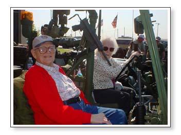 grandpa and grandma in the jeep