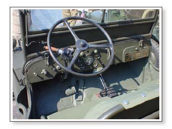 inside a V6 powered jeep